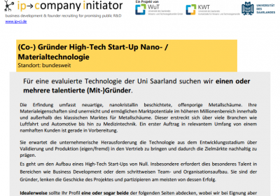 (Co-) Gründer High-Tech Start-Up Nano- / Materialtechnologie